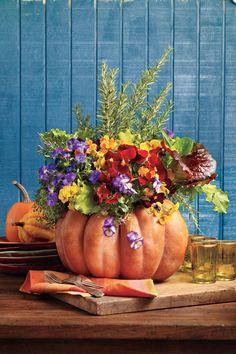 Fabulous Fall Decorating Ideas: Blooming Pumpkin