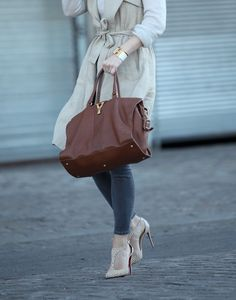Sleeveless Trench - Helena wearing a Theory Trench, Topshop Jeans, Christian Louboutin Shoes and Saint Laurent Bag.