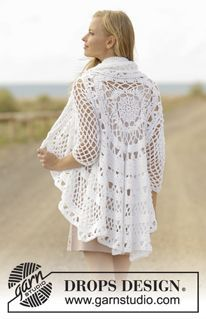 A Flair for Spring - Crochet jacket worked in a circle with lace pattern in DROPS Paris. Size: S - XXXL - Free pattern by DROPS Design