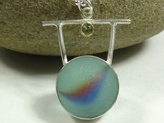 Seaglass Marble with peridot by seaglassjewels on Etsy, $140.00