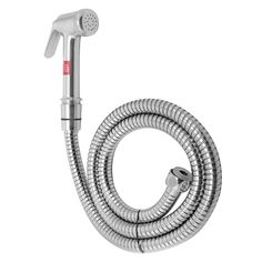 Klaxon Eco Brass Health Faucet Set with 1.25m long Steel Braided Flexible Tube And ABS Wall Hook (Chrome Finish)
