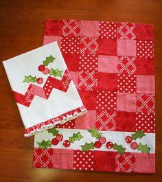 Christmas tea towel idea - so pretty (red and white)