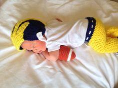 University of Michigan Wolverines Inspired Crochet Baby Football Helmet Hat and Pants Set - Newborn, 0-3 Month Sizes
