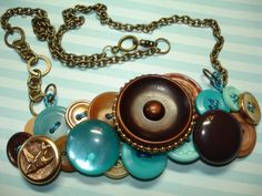 BIRD SONG -Button Necklace - Vintage button jewelry - Little Bird Button - plus -Deep Brown - AQUA Blue - Gold Metal