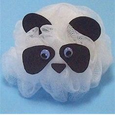 This adorable Scrubby Panda was created from a small bath scrubby Take a trip to the Dollar Store and see what you can turn into inexpensive craft materials Animal Crafts For Kids, Crafts For Teens, Crafts To Make, Art For Kids, Panda Decorations, Panda Craft, Insect Crafts, Bear Theme, Craft Materials