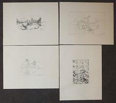ANDRÉ THOMKINS, Vier Blatt surreal-phantastische Lithographien.