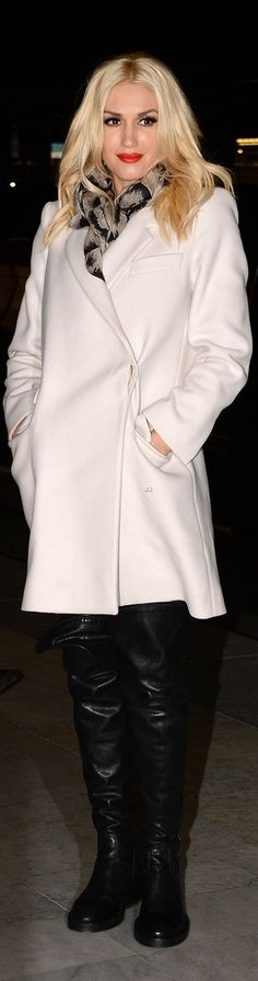 Overcoat - I like the white color, length and unique closure style. The scarf and tall boots are fun too.