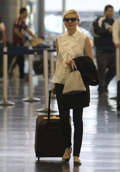 Kirstin Dunst Louis Vuitton Monogram Canvas Pegase Luggage