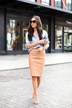 summer outfit ideas for work: chambray shirt with camel pencil skirt
