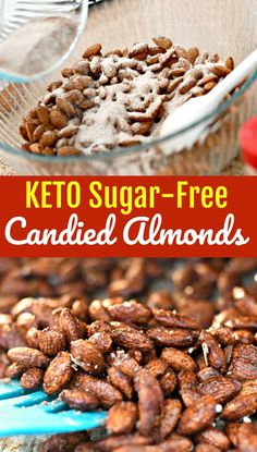 These sugar-free keto roasted spiced almonds are easy to make and so yummy. No one will even know these treats are keto-friendly! Cinnamon Roasted Almonds, Spiced Almonds, Candied Almonds, Spiced Nuts, Roasted Nuts, Raw Almonds, Nut Recipes, Almond Recipes, Low Carb Recipes
