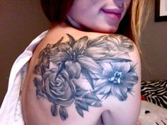flower tattoo | Tumblr... I actually like that this is black and gray.