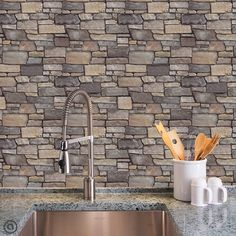 Stone Removable Wallpaper- FIELD LEDGE -Peel and Stick, Self- Adhesive Fabric, Repositionable and Reusable! Basement Guest Rooms, Living Tv, Temporary Wallpaper, Fabric Wallpaper, Stone Wallpaper, Wallpaper Ideas, Faux Stone, Basement Remodeling, Basement Ideas