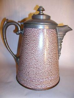 Antique Graniteware Mottled Coffee Pot Found on RubyLane.com