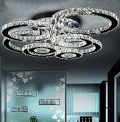 Modern led crystal chandelier light Round Circle Flush Mounted Chandeliers lamp living room Lustres for Bedroom Dining room - All About Decoration Crystal Ceiling Light, Crystal Chandelier Lighting, Modern Led Ceiling Lights, Led Ceiling Lamp, Glass Chandelier, Crystal Lights, Ceiling Light Living Room, Modern Crystal Chandeliers, Hotel Ceiling