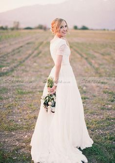f57c37a412 Chiffon Wedding Dress A-Line Princess V-Neck Sweep Train With Lace !