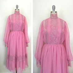 IN THE SHOP Vintage 1860s Dusty Rose Pink Chiffon Lace Dress (30-31/24/free) size XXS or XS http://ift.tt/1lP6fC1