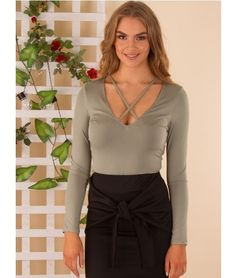 Brigitte Silky Long Sleeve V Neck strap • crop • chic | Cross Strap Front Top – Khaki | $ 34.97 |  f r e e   p o s t