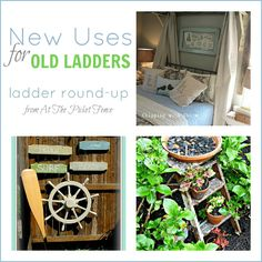 New Uses for Old Ladders. Ladder Round-up from At The Picket Fence
