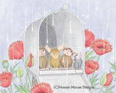 """Monica, Mudpie, Maxwell and Amanda from House-Mouse Designs® featured on the The Daily Squeek® for November 12th, 2013. Click on the image to see it on a bunch of really """"Mice"""" products."""