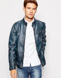 Image 1 of Blend Biker Jacket Faux Leather Vintage Wash