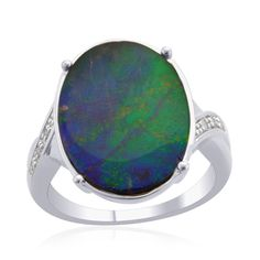 Liquidation Channel | 14K White Gold Canadian Ammolite and Diamond Ring