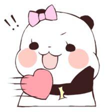 Love Love Yururinpanda by mya Cute Panda Baby, Panda Love, Panda Kawaii, Kawaii Anime, Panda Lindo, Baby Hamster, Panda Funny, Chibi Cat, Telegram Stickers