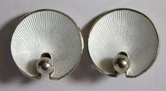 Vintage Signed Hans Myhre Norway Sterling Silver White Enamel Earrings #HansMyhre