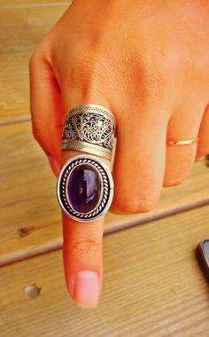 Purple stone Ring   Bohemian ring   Gypsy Jewelry   Bohemian Ring   Birthstone ring   Stone Ring   Adjutable ring   Ethnic ring  by ZamarutJewel on Etsy https://www.etsy.com/listing/211283823/purple-stone-ring-bohemian-ring-gypsy