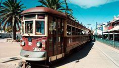 The red rattler tram to Glenelg in Adelaide, South Australia • Adelaide's icons