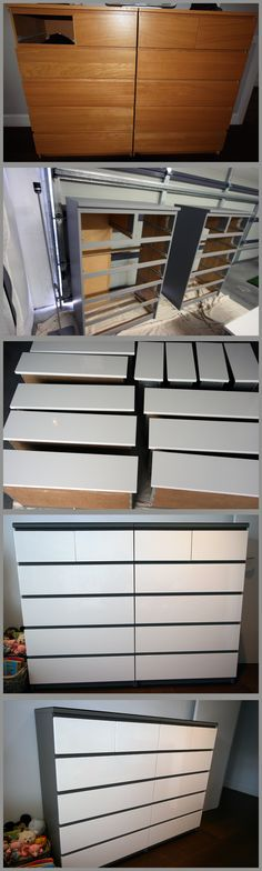 Tired old Malm Chests of Drawers in our  room - converted to grey & white for baby nursery.
