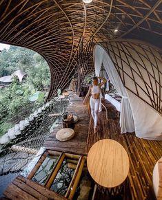 Eco Bamboo House lodge in Ubud, Bali. Eco Bamboo House lodge in Ubud, Bali. Nachhaltiges Design, Design Firms, Interior Design, Happy Design, Design Ideas, Jungle House, Jungle Life, Hanging Furniture, Bamboo Architecture