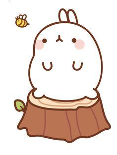 🐝 friends with Molang! Kawaii Chibi, Cute Chibi, Kawaii Anime, Kawaii Bunny, Cartoon Drawings, Cute Drawings, Molang, Cartoon Painting, Cute Doodles
