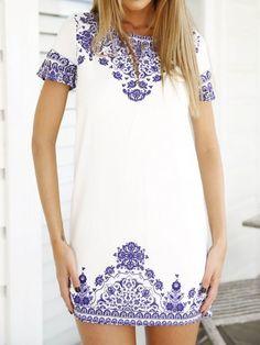 White Tile Print Short Sleeve Shift Dress