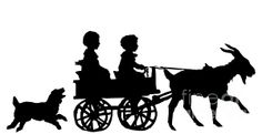 FOR SALE! SILHOUETTE ARTWORK!  ....  Silhouette Of Children In A Goat Cart  .....  #sale #artwork #cards #prints #fineartamerica #iphonecases #silhouettes #fonts #children #goats #dogs #wagons #animals