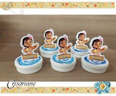 Moana Bebe, Mint, Moana Birthday, Custom Art, Tin Cans, Tags, Peppermint