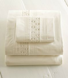 Heirloom Crocheted Sheet Set: White or Ivory Queen Sheets, Bed Sheets, White Sheets, White Linens, Linens And More, Luxury Bedding Collections, Bed Linen Sets, Heirloom Sewing, Cool Beds