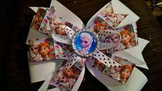 "Disney's Frozen bow with my New self made Diamond cut ""Bling"" bottle cap!!"