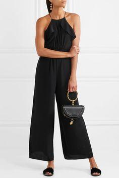 a701f5a6a47 Zimmermann - Flutter Ruffled Silk-crepe Jumpsuit - Black