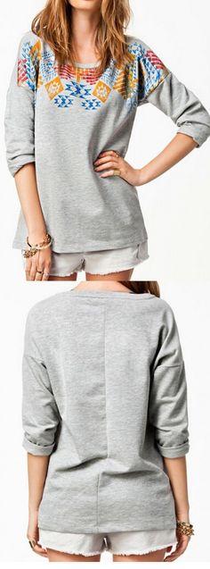 Gray Contrast Geo Print Long Sleeve T-shirt