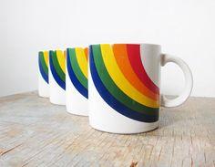 Omgosh! I need this! I have one already! vintage rainbow mugs / 1980s coffee mug / set of four coffee mugs / retro tea cups on Etsy, $42.00