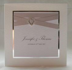 Harmony Wedding Invitation, Handmade, Silver, Crystal Heart, Contemorary