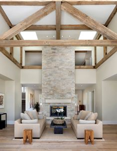 Modern Fireplace Stone Living Room Farmhouse with modern farmhouse exposed beams