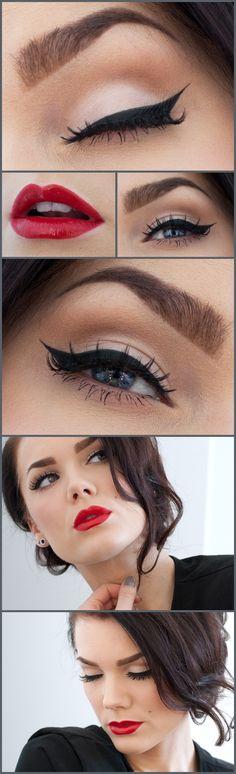 Cat Eye look - recreate using Mary Kay® Liquid Eyeliner in Black, Mary Kay® Ultimate Mascara™ in Black & Mary Kay® True Dimensions™ Lipstick in Firecracker
