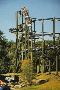 Zambezi Zinger at Worlds of Fun in Kansas City, MO.  I remember my dad forcing me to ride this with him.  I cried the entire way thru the line.  After one ride I was hooked on roller coasters....I loved it!!