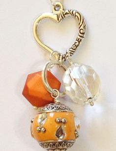 Orange Heart Bauble Necklace