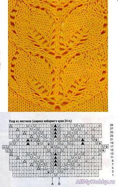 Узор для вязания спицами №397.Схема для вязания спицами №397. Листики.