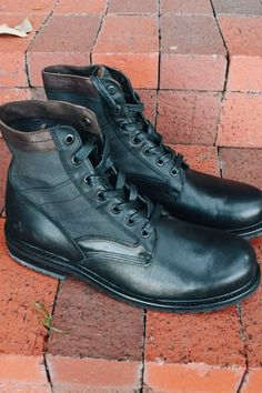 These Goodyear constructed boots are a streamlined take on a vintage military style. They've been made from vegetable-tanned leather and waxy canvas with textured-leather collars. The rubber soles are trimmed with leather storm welt and midsoles that are more than capable of tackling whatever is thrown your way. Tie them up with the waxed cotton laces.