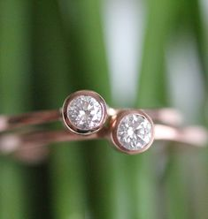 Diamond In 14K Rose Gold Ring Made To Order by louisagallery