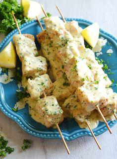 Fish Kabobs with Garlic Parmesan Cream Sauce - GrabandgoRecipes.com Russian Home Cooking Recipes