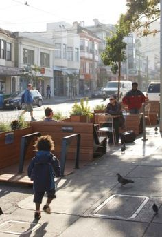 One idea that has spread around the globe is PARK(ing) Day, an annual event in September in which curb parking spaces are transformed into people places for a day. It all started in San Francisco in 2005, when a design firm called Rebar turned a single on-street parking space into a temporary public park with sod, a bench, and a tree. In 2011, the event grew to nearly 1,000 PARK(ing) Day parks in 162 cities worldwide. Arizmendi-Bakery-Parklet-9th-Avenue-San-Francisco